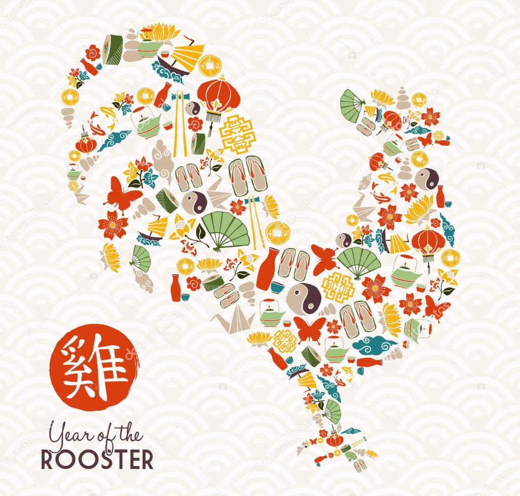Happy Chinese New Year 2017, design made of asian culture icons with traditional calligraphy that means Rooster. EPS10 vector.